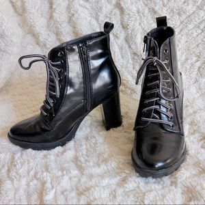 Shoes - Lace up bootie with side zip